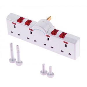 Eurosonic 4 Way Switched Neon Gang Surge Protector Code ES987