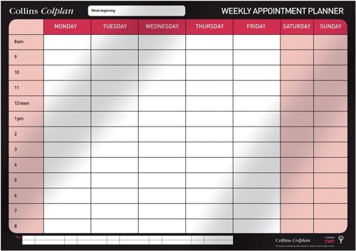 Colplan 2014 Weekly Appointment Wall Planner Code CWP