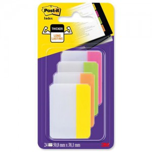Post-it Index Filing Tabs Strong Flat 51x38mm Six Each of 4 Colours Assorted Ref 686-PLOY