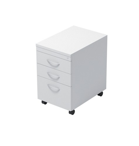 Trexus Mobile Filing Pedestal Tall Under-desk 3-Drawer W400xD600xH674mm White