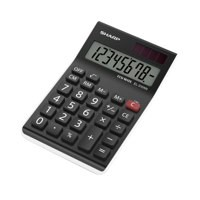 Sharp Calculator Handheld Battery Solar-power 8 Digit 3 Key Memory Ref EL310ABBK