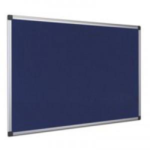 Bi-Office Notice Board Fire Retardant Fabric Alumimium Frame W1200xH900mm Blue Ref SA0501170
