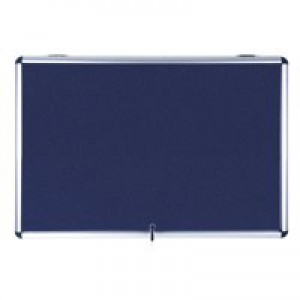 Bi-Office Fire Retardant Display Case Glazed Blue Fabric 18xA4 W1350xD50xH1200mm Ref ST390101150