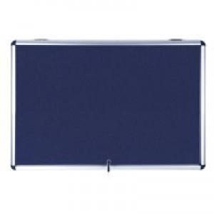 Bi-Office Fire Retardant Display Case Glazed Blue Fabric 18xA4 W1350xD50xH1200mm Ref ST390101150