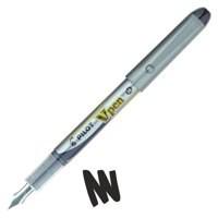 Pilot V4W Fountain Pen Disposable Silver Barrel Steel Nib Black Code 633101201