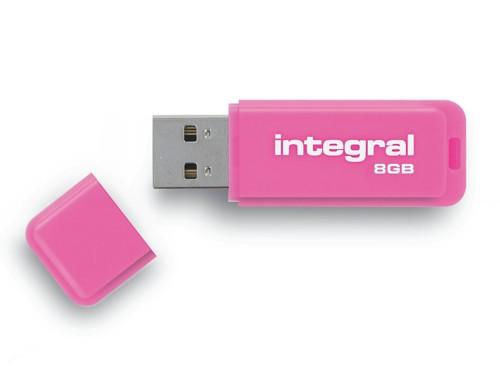 Integral Neon USB Drive Pink 8GB