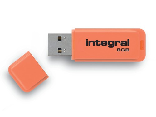Integral Neon USB Drive Orange 8GB