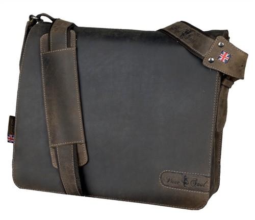 Alassio Pride & Soul Ben 15in Notebook Shoulder Bag Leather Brown Code 47138