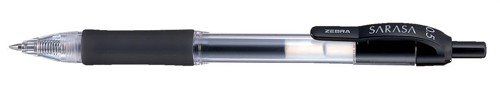 Zebra Sarasa Retractable Rollerball Gel Ink Pen Fine Black Pack 12 Code 46710