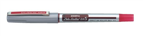 Zebra DX5 Rollerball Liquid Ink Pen Fine Needle Point Red Ref 16073 [Pack 10]