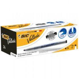 Bic Velleda Drywipe Marker 1721 Bullet Tip 1.5mm Line Black Ref 841842 [Pack 24]