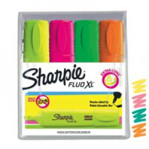 Sharpie Fluo XL Chisel Tip Highlighters Pack 4 Assorted Colours 1825662