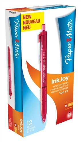 Paper Mate InkJoy 300 RT Ball Pen 1.0mm Tip Red Ref S0959930 [Pack 12]