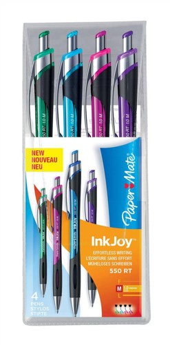 Paper Mate InkJoy 550 RT Ball Pen 1.0mm Tip Assorted Ref S0977360 [Pack 12]