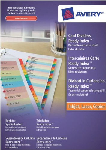 Avery ReadyIndex Dividers With Coloured Mylar Tabs 1-12 FSC Code 01736501