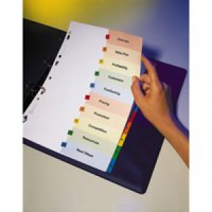 Avery ReadyIndex Dividers L7411-10 A4 Plus 1-10 Numeric Assorted Colours Ref 05065501