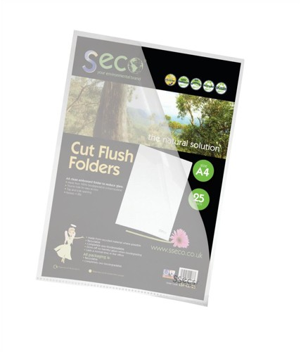 SSeco Oxo-Bio Cut Flush Folder A4 Clear Ref LSF-25 [Pack 25]