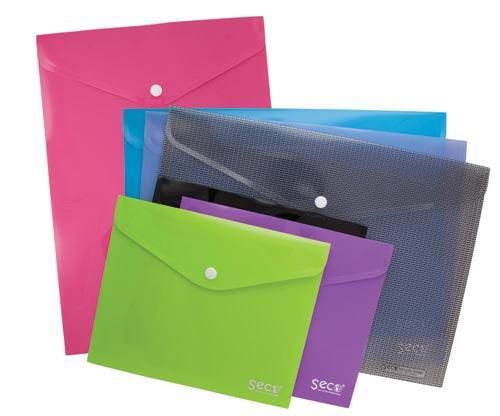 SSeco Oxo-biodegradable Polypropylene Wallet A5 Landscape Assorted Ref PPTA5-AST [Pack 5]