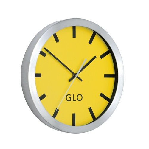 GLO Aluminium Wall Clock Lemon Face 310mm Diameter