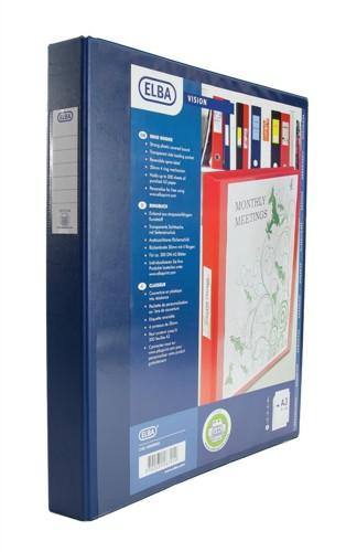 Elba Vision Ring Binder PVC Front Pocket 2 O-Ring A3 Portrait Blue Ref 400009731 [Pack 2]