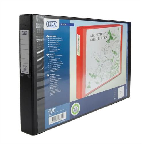 Elba Vision Ring Binder PVC Front Pocket 2 O-Ring A3 Landscape Black Ref 100082459 [Pack 2]
