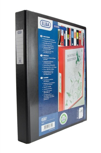 Elba Vision Ring Binder PVC Front Pocket 2 O-Ring A3 Portrait Black Ref 400009729 [Pack 2]