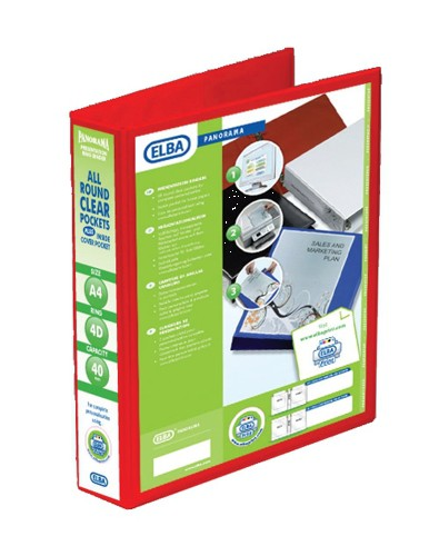Elba Presentation Ring Binder PVC 4 D-Ring 40mm Capacity A4 Red Ref 400008507 [Pack 6]