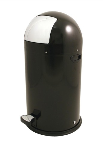 Bullet Shape Round Pedal Operated Bin Black 33 Litre Code SPCCAN04BLK