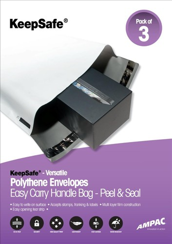 Keepsafe Easy Carry Handle Bags Polythene Recyclable 335x430x80mm Opaque Pack 3
