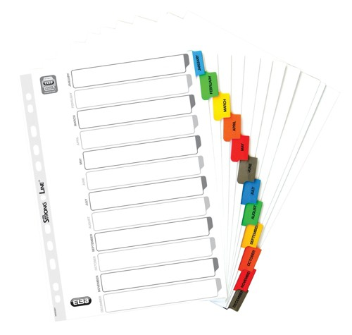 Elba Dividers Europunched Jan-Dec with Coloured Tabs A4 White Ref 40008983