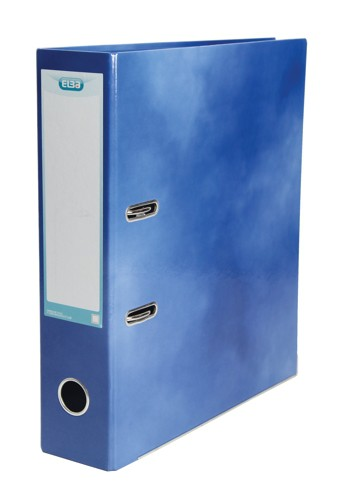 Elba Lever Arch File Laminated Gloss Finish 70mm Capacity A4 Blue Ref 400021003