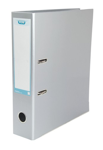 Elba Classy Lever Arch File A4 Laminated Paper On Board Metallic Silver