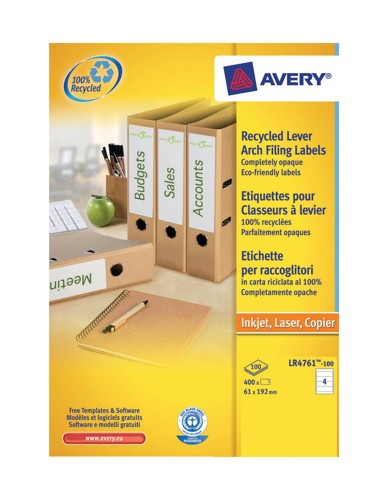 Avery Recycled Filing Labels 61x192mm.4 Labels Per Sheet. Lr4761-100 Pack 100