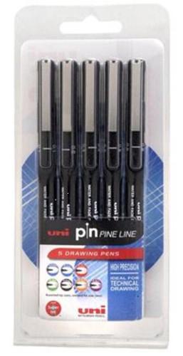 Uni Pin Pens Assorted Black Pack 5