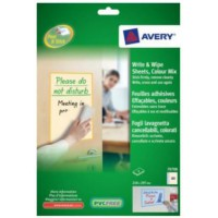 Image for Avery Write and Wipe Colour Mix Pack A4 Sheets Ref 70708 [4 Sheets]