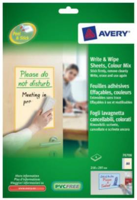 Avery Write and Wipe Colour Mix Pack A4 Pack 5 Sheets