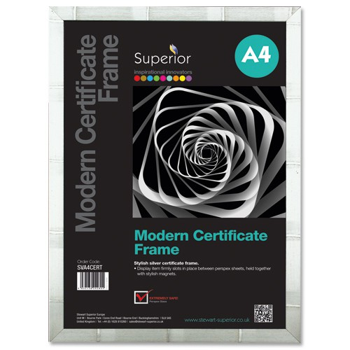Modern Certificate Frame A4 Silver
