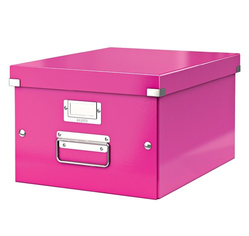 Leitz WOW Click and Store Medium Storage Box For A4 Pink Ref 60440023
