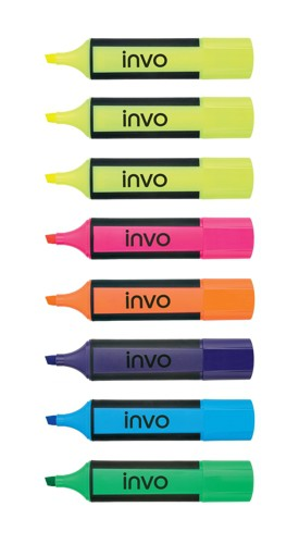Invo Highlighter Assorted Wallet of 6 and 2 Free Ref HY253600As [Pack 8]