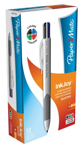 PaperMate Inkjoy Quatro Four Colour Pen Assorted Standard Pack 12