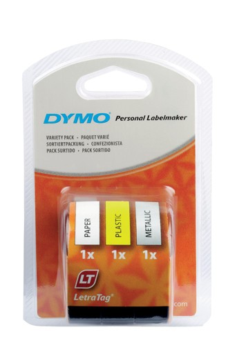 Dymo LetraTag Tape Variety 3 Pack White/Yellow/Silver