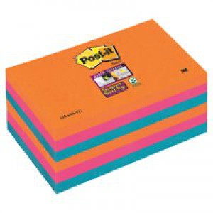 3M Post-it Super Sticky Notes Electric Glow 76x127mm Pack 6 655-6SS-EG