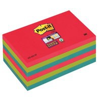 Post-it Super Sticky Colour Notes Pad 90 Sheets Jewel Pop 76x127mm Ref 655-6SS-JP [Pack 6]