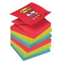 Post-it Super Sticky Z-Notes Pad 90 Sheets Jewel 76x76mm Ref R330-6SS-JP [Pack 6]