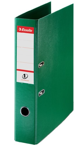 Esselte No. 1 Power Lever Arch File PP Slotted 75mm Spine Foolscap Green Ref 48086 [Pack 10]