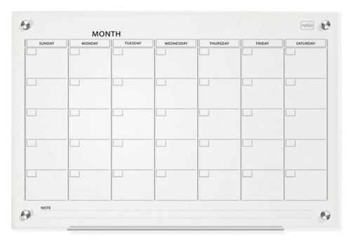 Nobo Glass Magnetic Calendar Board 600x900mm