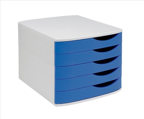 invo Desk Drawer Set 5 Drw Grey/ Blue