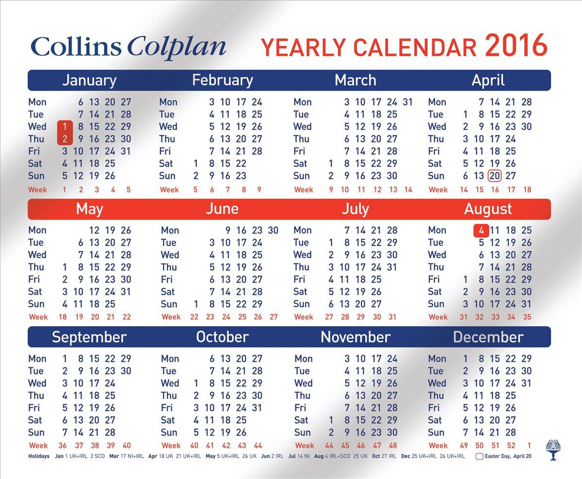 Collins 2016 Calendar Yearly Planner Double-sided Full 12 Months 260x210mm Ref CDS1