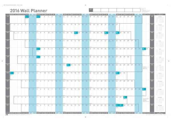 Sasco 2016 Wall Planner Unmtd
