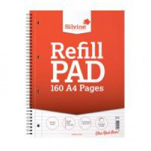 Silvine Sidebound Refill Pad Wirebound Feint Ruled and Margin A4 Red